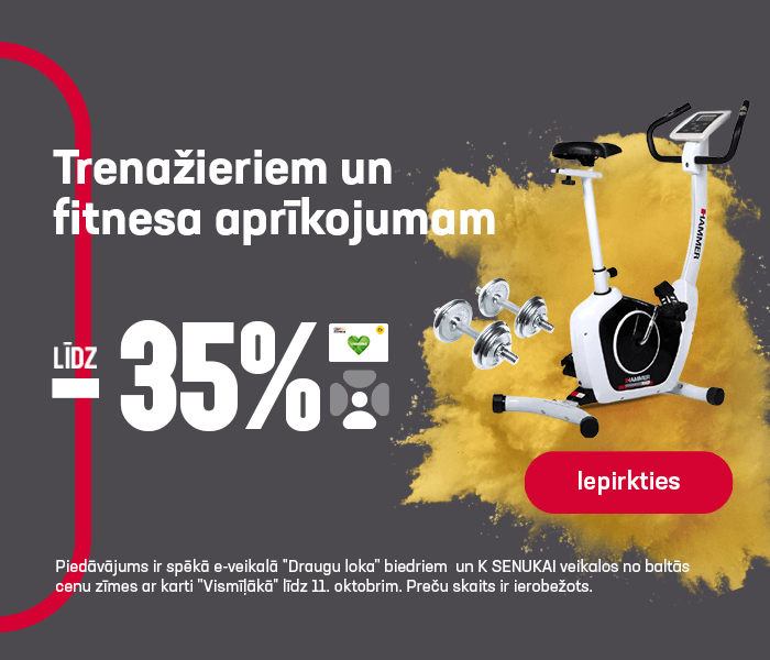 Trenažieriem un fitnesa aprīkojumam līdz -35%