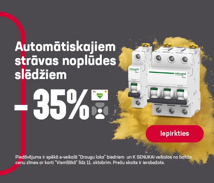 Automātiskajiem strāvas noplūdes slēdžiem -35%