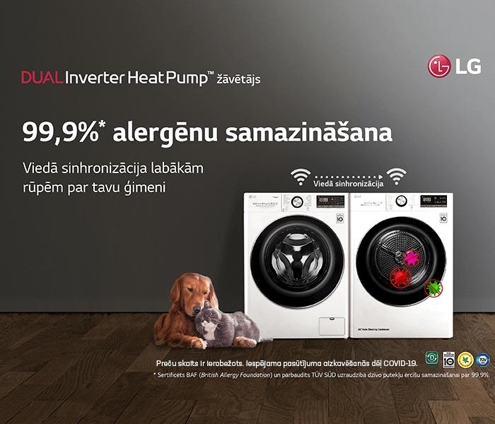 LG Dual Inverter - veļas žāvēšanas mašīna, kas samazina alergēnu daudzumu par 99,9%