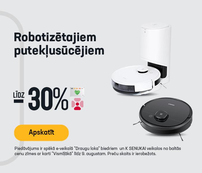 Robotizētajiem putekļusūcējiem līdz -30%