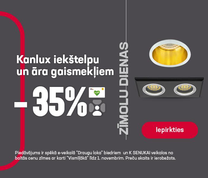 Kanlux iekštelpu un āra gaismekļiem -35%