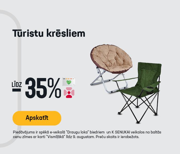 Tūristu krēsliem līdz -35%