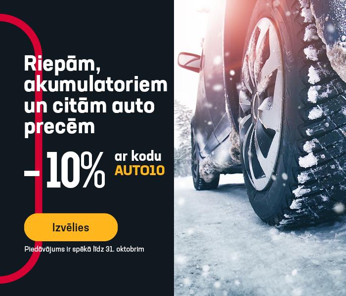 Riepām, akumulatoriem un citām auto precēm -10% atlaide ar kodu AUTO10