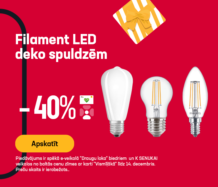 FILAMENT LED deko spuldzēm - 40% atlaide - PHILIPS, OSRAM, TRIO, STANDART