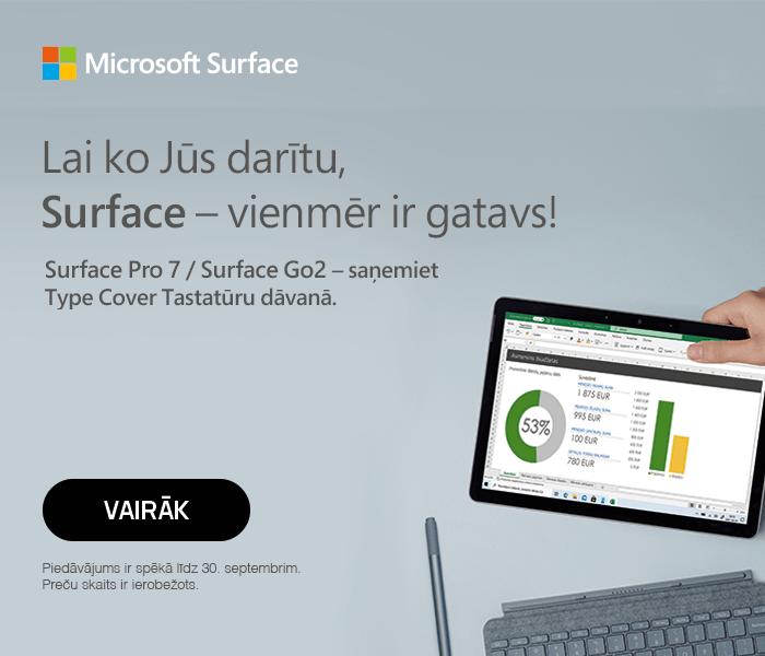 Microsoft Surface! Lai ko Jūs darītu, Surface - vienmēr ir gatavs! Surface Pro 7 / Surface Go 2 - saņemiet Type Cover tastatūru dāvanā!