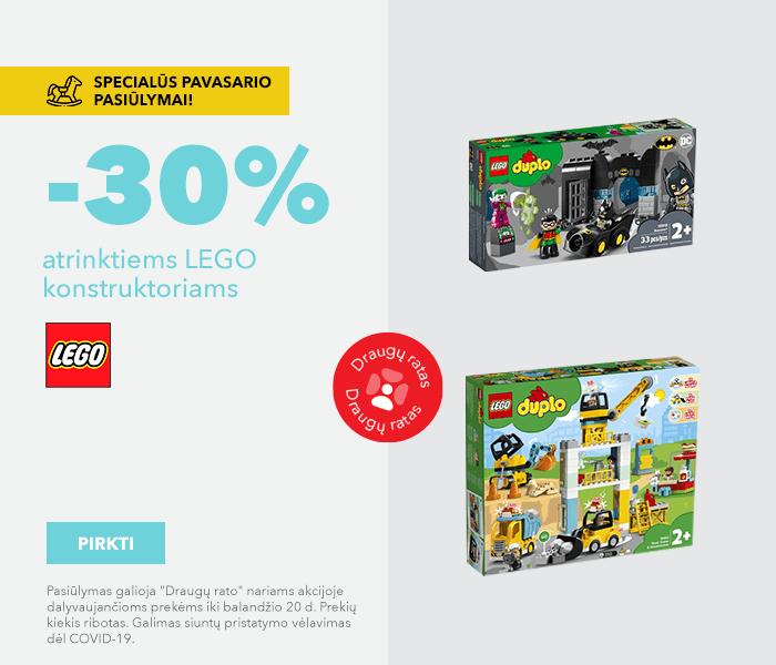 Specialūs pavasario pasiūlymai! -30% atrinktiems LEGO konstruktoriams
