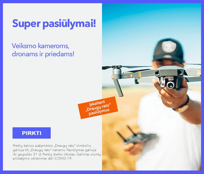 Super pasiūlymai veiksmo kameroms, dronams ir priedams!
