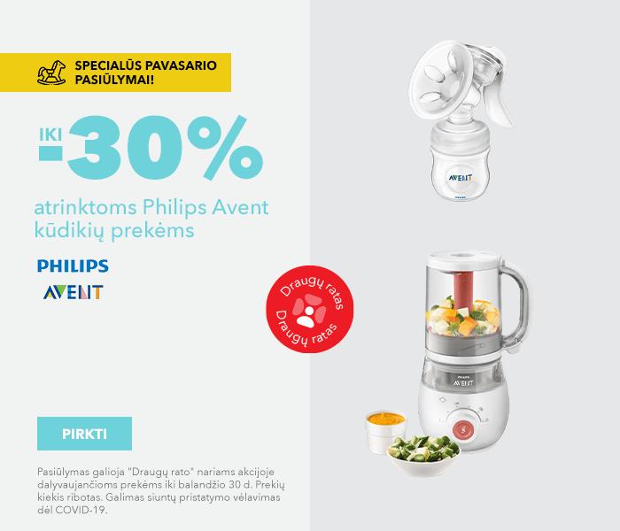 Specialūs pavasario pasiūlymai! Iki -30% atrinktoms Philips Avent kūdikių prekėms