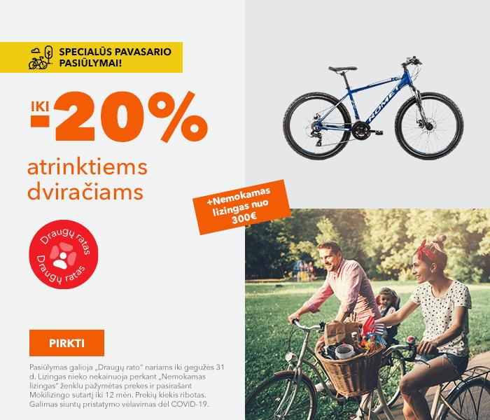 Specialūs pavasario pasiūlymai! Iki -20% atrinktiems dviračiams