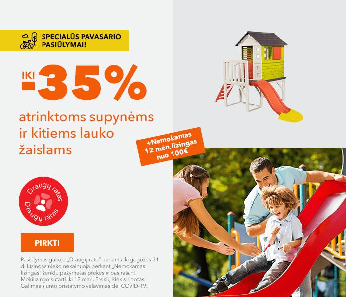 Specialūs pavasario pasiūlymai! Iki -35% atrinktoms supynėms ir kitiems lauko žaislams