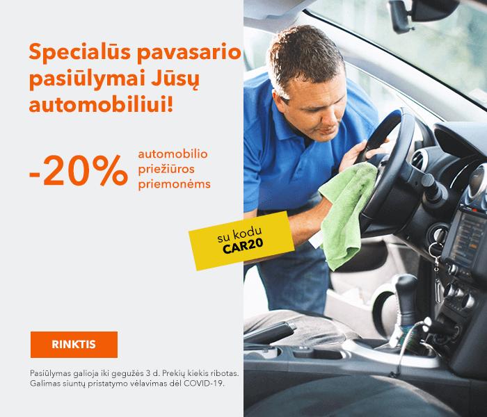 Specialūs pavasario pasiūlymai Jūsų automobiliui! automobilio priežiūros priemonėms -20% su kodu