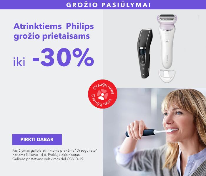 """GROŽIO PASIŪLYMAI  Atrinktiems """"Philips"""" grožio prietaisams iki -30%"""