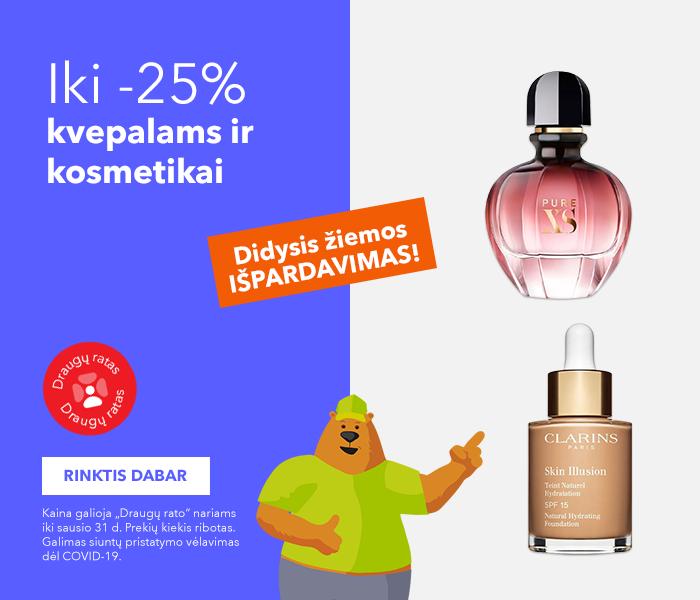 SUPER PASIŪLYMAI ČIA! SAUSIO IŠPARDAVIMAS! Iki -25% kvepalams ir kosmetikai