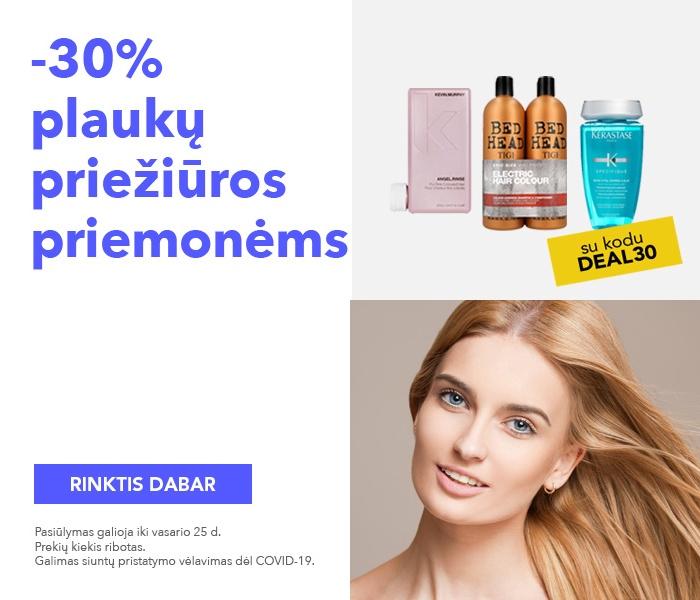 -30% kuponas plaukų priežiūros priemonėms
