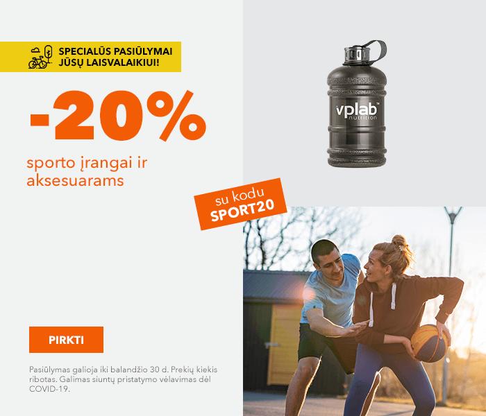Būkite aktyvūs - specialūs pasiūlymai! sporto įrangai ir aksesuarams -20% su kodu