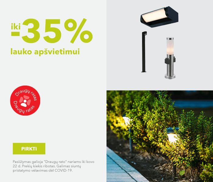 Specialūs pasiūlymai Jūsų sodui! iki -35% lauko apšvietimui