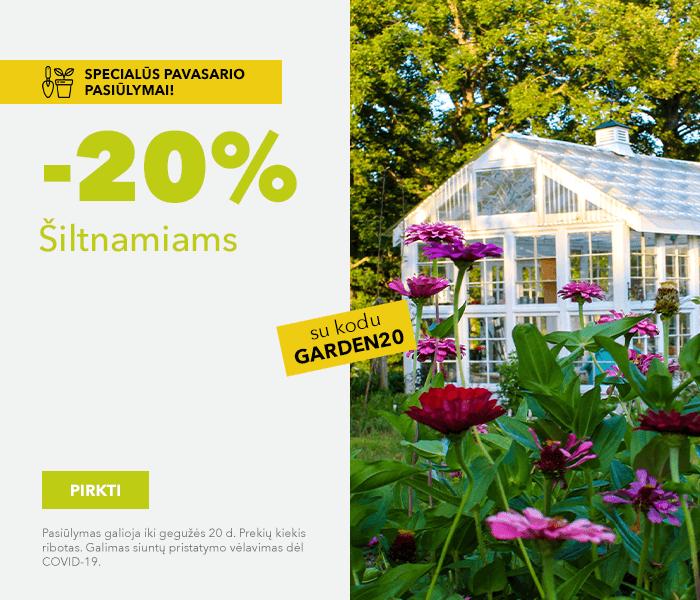 Specialūs pavasario pasiūlymai! -20% šiltnamiams su kodu: GARDEN20