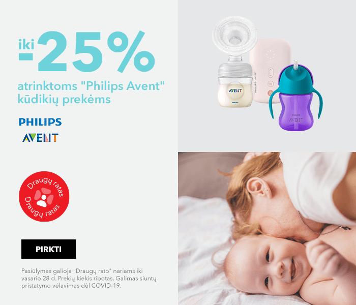 """Iki -25% atrinktoms """"Philips Avent"""" kūdikių prekėms"""