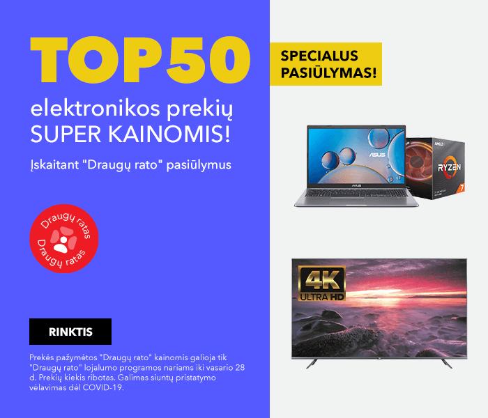 SPECIALUS PASIŪLYMAS! TOP50 elektronikos prekių super kainomis!