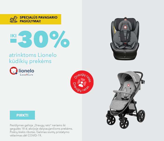 Specialūs pavasario pasiūlymai! iki -30% atrinktoms Lionelo kūdikių prekėms