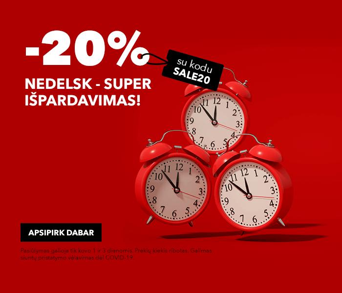 Riboto laiko super išpardavimas! APSIPIRK DABAR -20% su kuponu: SALE20