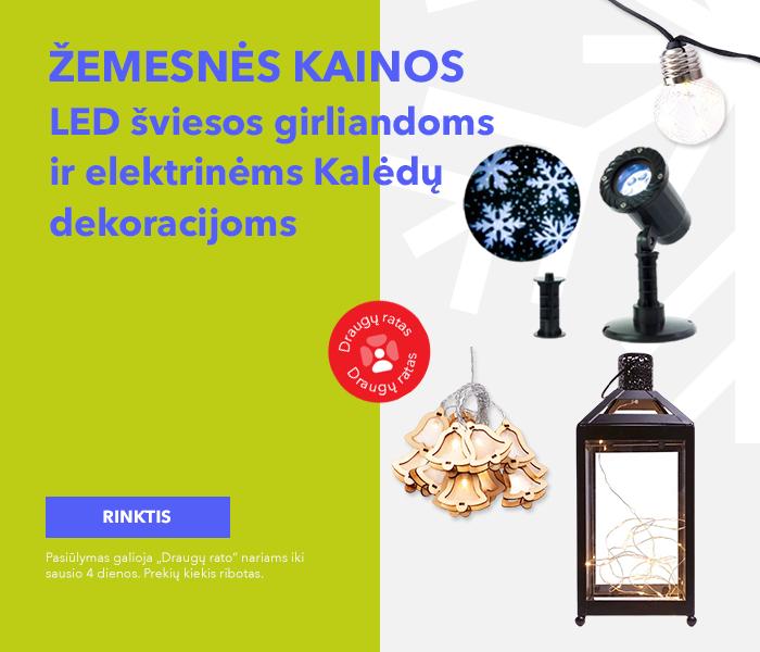 Žemesnės kainos LED šviesos girliandoms ir elektrinėms Kalėdų dekoracijoms