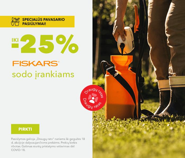 Specialūs pavasario pasiūlymai! iki -25% Fiskars sodo įrankiams