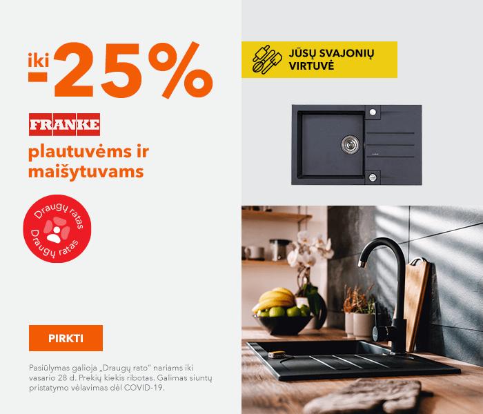 """Jūsų svajonių virtuvė Iki -25% """"Franke"""" kriauklėms ir maišytuvams"""