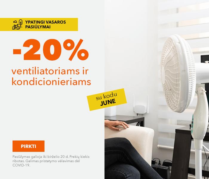 Ypatingi vasaros pasiūlymai Jums! -20% ventiliatoriams ir kondicionieriams su kodu