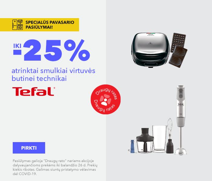 Specialūs pavasario pasiūlymai! iki -25% atrinktai smulkiai virtuvės butinei technikai Tefal