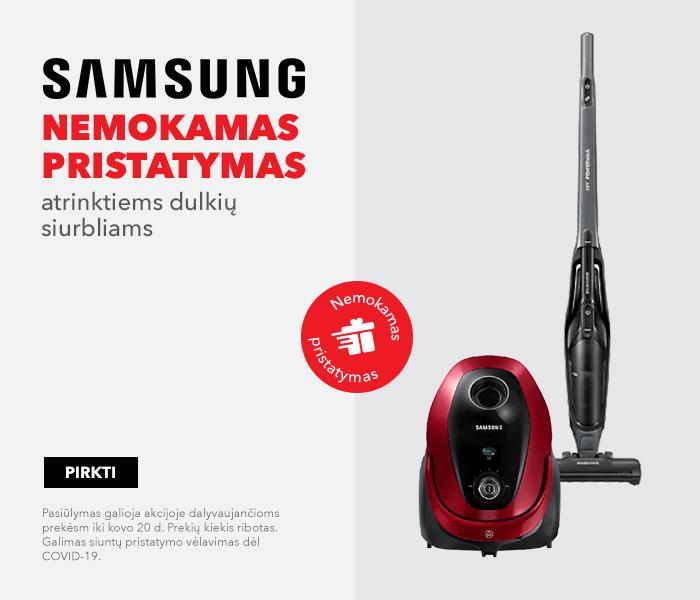 Samsung nemokamas pristatymas atrinktiems dulkių siurbliams