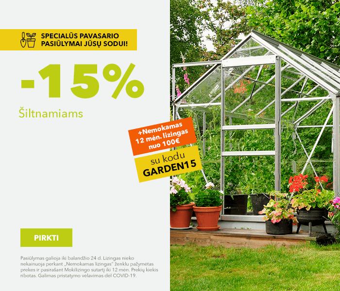 Specialūs pavasario pasiūlymai Jūsų sodui! Šiltnamiams -15% su kodu