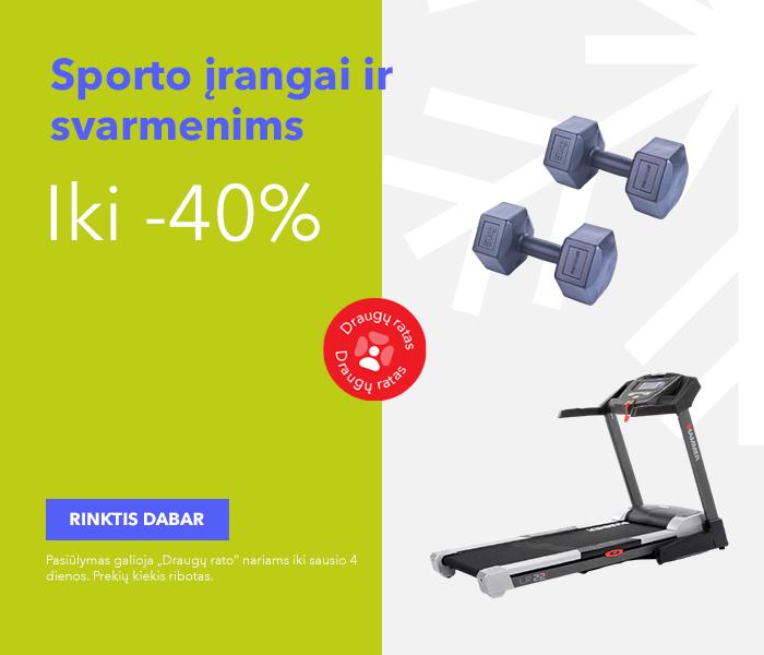 Iki -40% sporto įrangai ir svarmenims