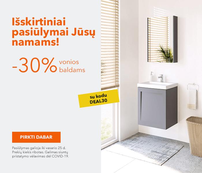Išskirtiniai pasiūlymai Jūsų namams! - 30% kuponas vonios baldams