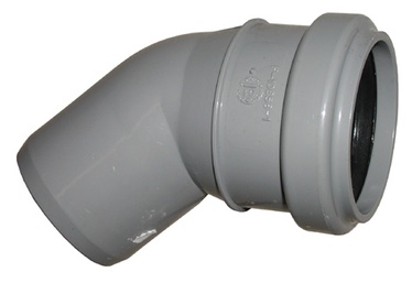 Kanalizācijas caurules 45° līkums Wavin D50mm, PVC