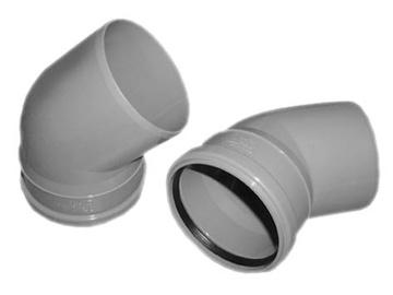 Kanalizācijas caurules 45° līkums Wavin D110mm, PVC