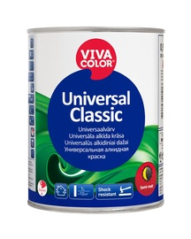 Alküüdvärv Vivacolor Universal Classic, poolmatt, valge 0,9L