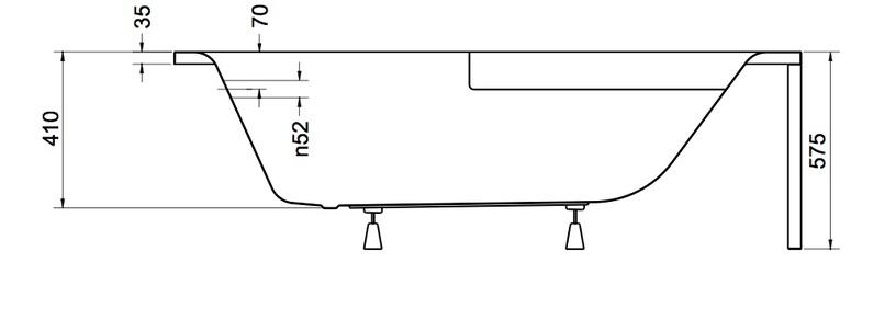 Kampinė vonia Piramida Cornea, 140x80x55 cm, akrilas, dešininė