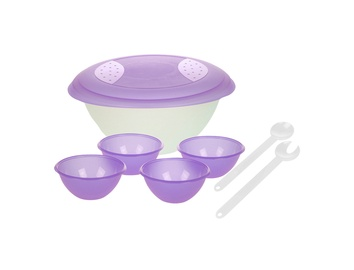 Salotų dubuo su dangčiu OKT, 4 dubenėliai ir salotų įrankiai