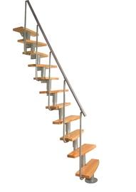 Laiptai Atrium Mini Plus, alksniniai, sidabro spalvos detalės