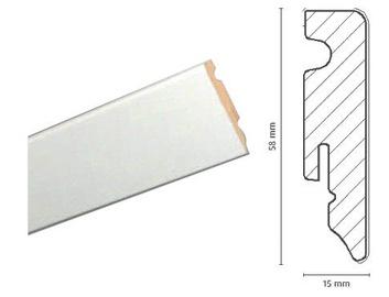 Põrandaliist FOF A015, 2,4x0,058x0,015 m, valge