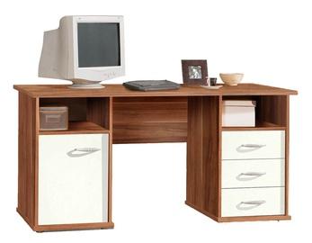 Darbo stalas su stalčiais ir spintele, riešutmedžio medienos spalva