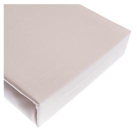 Satininė paklodė su guma, 180 x 200 cm, kremo spalvos