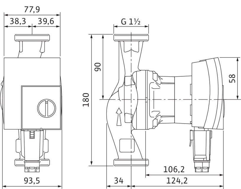 cirkuliacinis vandens siurblys wilo yonos pico 25 1 4 180. Black Bedroom Furniture Sets. Home Design Ideas