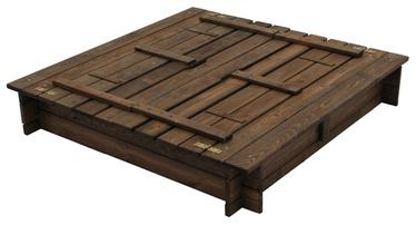 Smėlio dėžė su suoliukais ir dangčiu, 118 x 118 x 20 cm