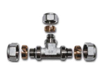 Trejgabals daudzslāņu cauruļu savilkšanai, 26x26x26 mm, TDM Brass