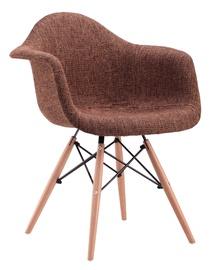 Plastikinė ruda kėdė su medinėmis kojomis PP-620