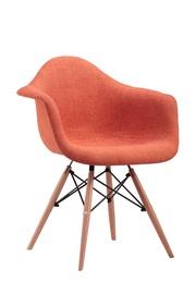 Plastikinė oranžinė kėdė su medinėmis kojomis PP-620