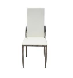 Kėdė E29-CW su kremo spalvos apmušalu ir chromuotomis kojomis
