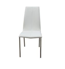 Kėdė E12-WH su baltu dirbtinės odos apmušalu ir chromuotomis kojomis